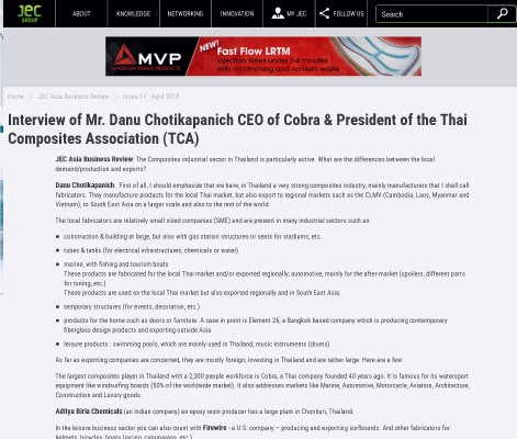 Interview of Mr. Danu Chotikapanich CEO of Cobra& President of the Thai Composites Association (TCA)