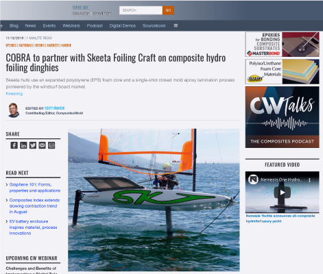 COBRA to partner with Skeeta Foiling Craft on composite hydro foiling dinghies