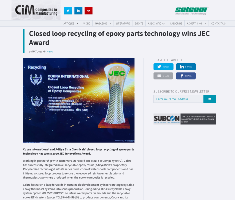 Closed loop recycling of epoxy parts technology wins JEC Award